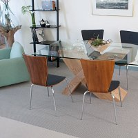 Contemporary dining area with Faroe grey wool carpet